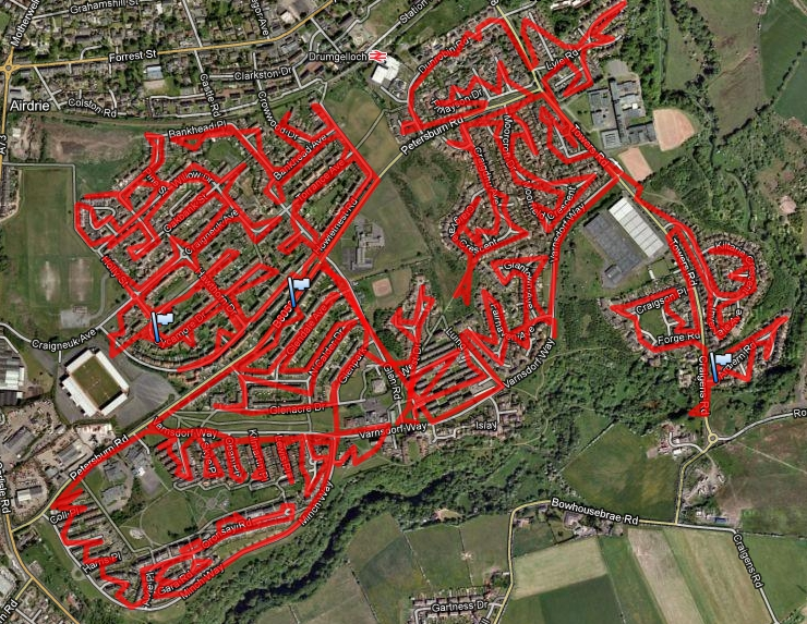 Satellite map created from GPS data logger