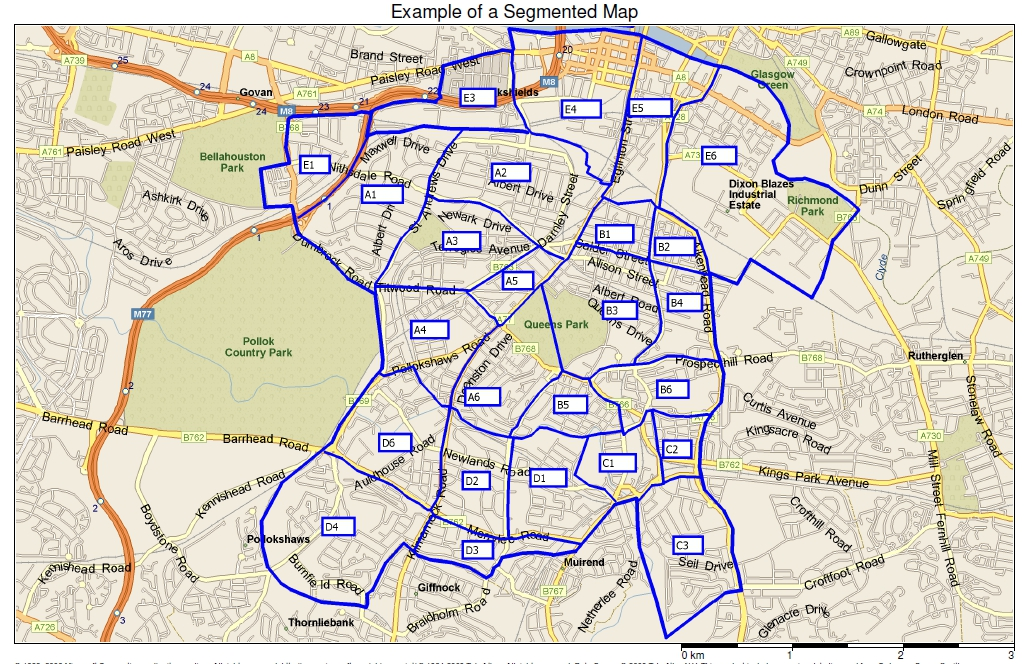 Example of a segmented leaflet distribution area map