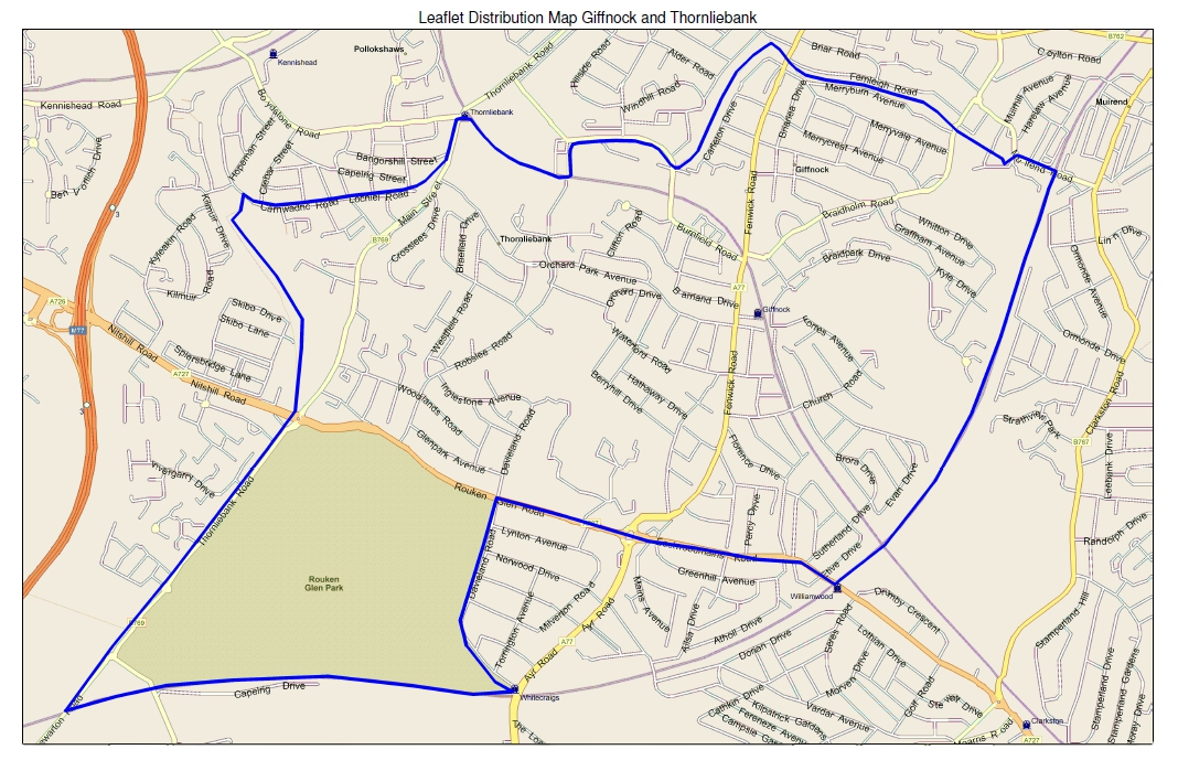 leaflet distribution area map for giffnock and thornliebank