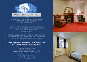 Leaflet promiting Duchess Nina Care Home