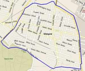 Distribution Map for Langside Glasgow