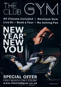 Front of the leaflet distributed for The Gym Club Glasgow