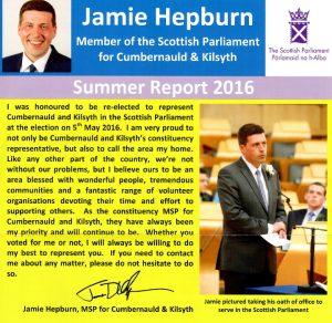 Front of Jamie Hepburn MSP Summer 2016 newsletter