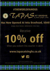Tapas at Singhs Leaflet