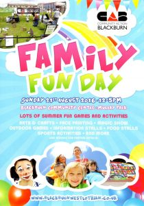 Front of Community Action Blackburn Family Fun Day Leaflet