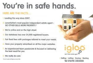 Back of Igloo Estate Agents Hamilton Leaflet