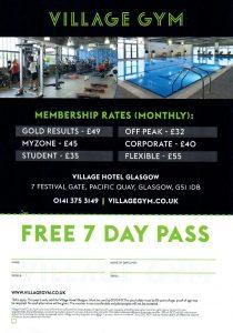 Copy of back of leaflet distributed for Village Gym Glasgow in April