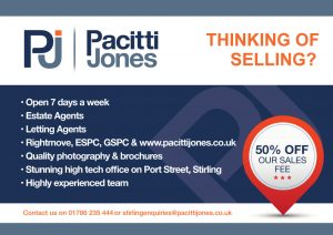 Front side of leaflet designed printed and distributed for Pacitti Jones