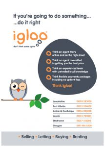 Back of Igloo Estate Agent Hamilton leaflet