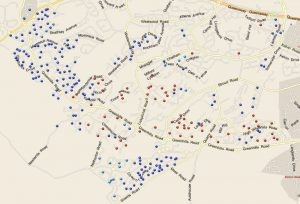 Sample map showing a generic demographic profile for targeted leaflet distribution