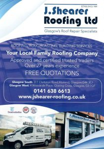 J Shearer roofing leaflet that was distributed in the South Side of Glasgow.