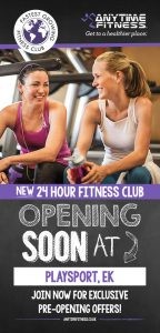 Front of Anytime Fitness East Kilbride leaflet printed and distributed by 2112 Direct Marketing