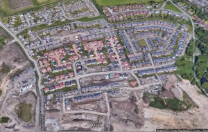 Example of an arial view of a new hosing development