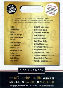S Collins Butcher list of gluten free products