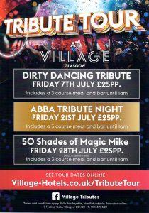 Leaflet for Village Hotel Tribute Tour Glasgow