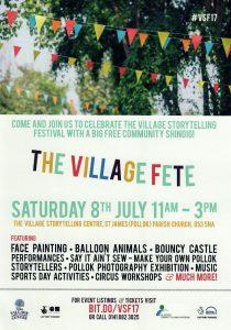 Village Storytelling leaflet promoting the Village Fete 2017