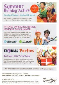 Leaflet Distributed in Glasgow West End for David Lloyd Health Club