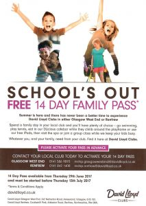 Schools Out Leaflet distributed for David Lloys Wst End Club