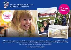 Back of leaflet distributed for Glasgow Academy in South Side