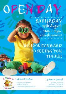 3 Bears Nursery Open Day leaflet