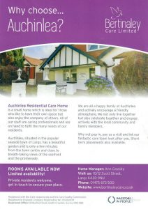 Auchinlea Care Home leaflet distributed in North Ayrshire