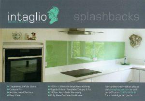 Intaglio leaflet promoting glass splashbacks