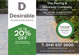 Front of the Desirable Driveways Leaflet Distributed in Hamilton