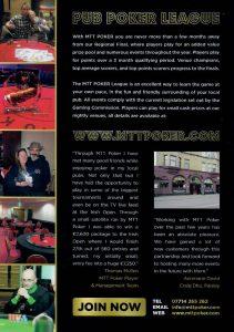 MTT Poker leaflet explaining giving information about their pub poker league