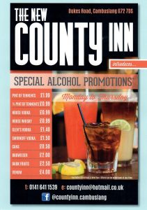 Drinks promotion Leaflet for The County Inn Cambuslang