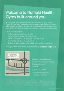 Back of Nuffield Health leaflet