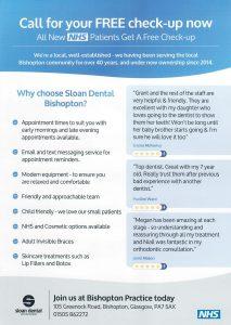 Reverse of Sloan Dental Leaflet