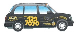 Cut Out Section of the Glasgow Taxis Leaflet Distributed by 2112 Leaflet Distribution