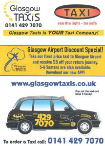 Glasgow Taxis Leaflet Distributed in the Glasgow area