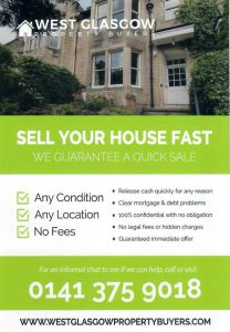 West Glasgow Property Buyers Leaflet Distributed in G13