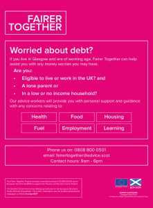 Fairer Together Leaflet helping people with money worries