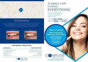 Outside of Complete Dental Care Leaflet Distributed in Cambuslang & East Kilbride