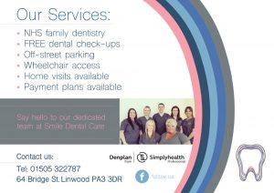 Back of Smile Dental Leaflet