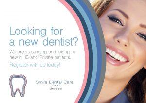 Front Side of Smile Dental Leaflet Linwood